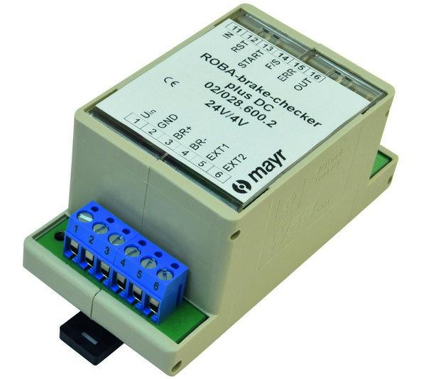 Интеллектуальный модуль ROBA®-brake-checker производства mayr® power transmission позволяет снабжать энергией и контролировать предохранительные тормоза без использования датчиков